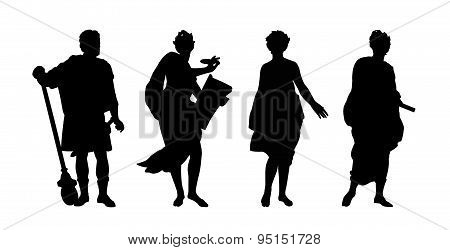 Greek Gods And Heroes Silhouettes Set