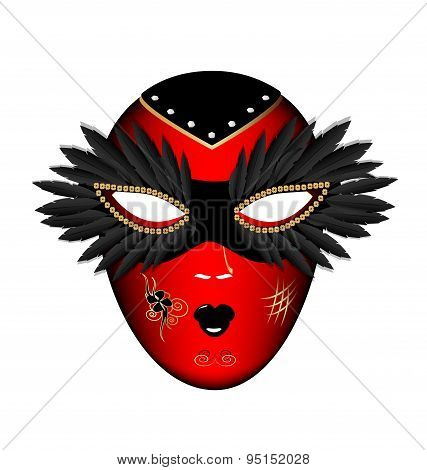 carnival red black mask