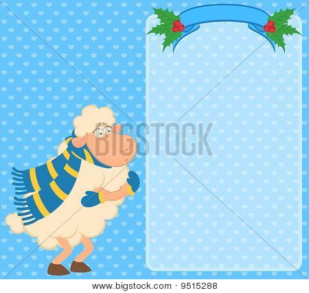 Cartoon funny sheep freezes in a scar on a background for a design poster