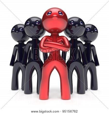 Leadership Teamwork Stylized Red Character Black Men Crowd