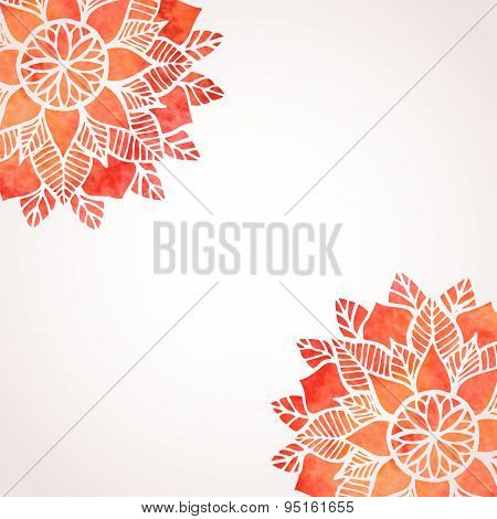 Illustration With Watercolor Red Lace Pattern. Vector Background