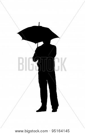 Silhouette Of A Man With An Umbrella