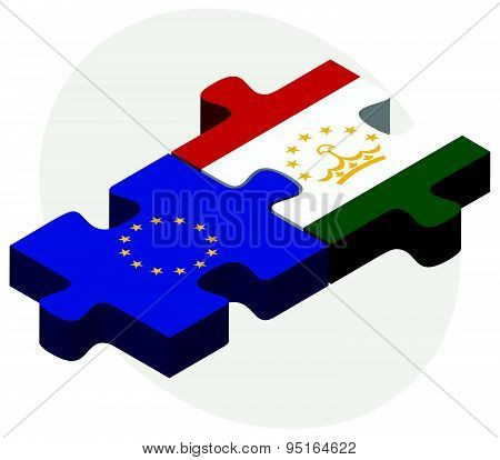European Union and Tajikistan Flags in puzzle isolated on white background. poster