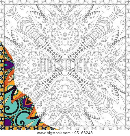 unique coloring book square page for adults