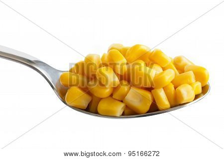 Spoon Full Of Tinned Sweetcorn Isolated On White.