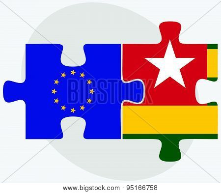 European Union and Togo Flags in puzzle isolated on white background. poster