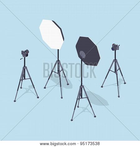 Isometric photo cameras, tripods and softboxes