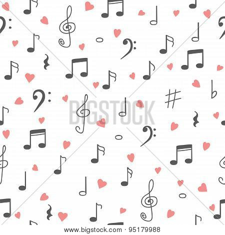 I Love Music. Music Seamless Pattern Background. Hand Drawn Music Notes And Hearts