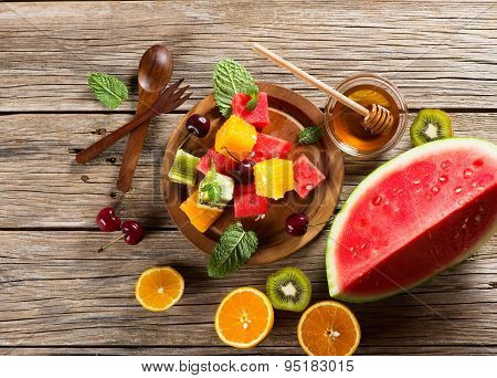 Dessert Of Fruits And Berries, Shot From Above