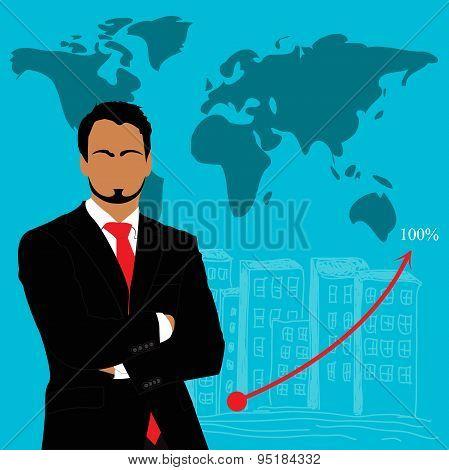Businessman,  graph, vector, illustration