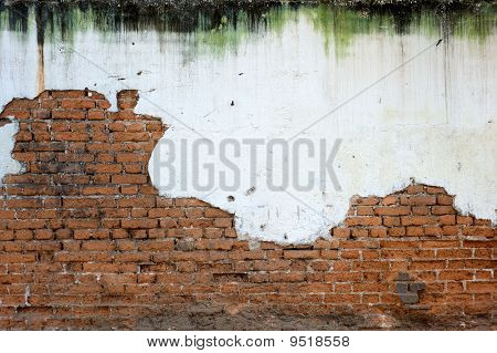 Stained White Plaster And Exposed Brick Wall