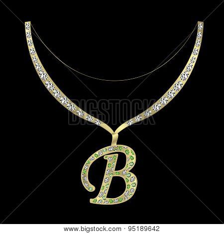 necklace with the letter B