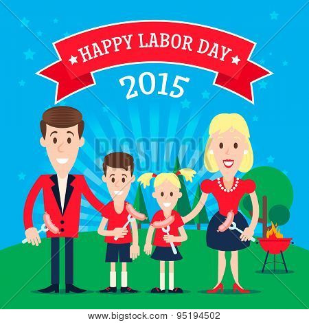 Invitation card with the happy family celebrating the labor day. Illustration in a flat style. Fully editable vector. poster