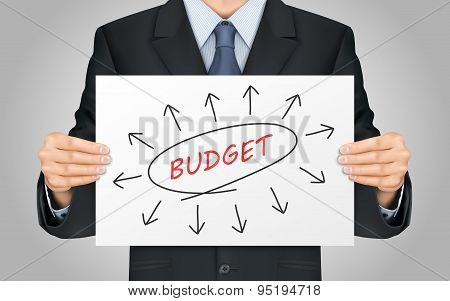 Businessman Holding Budget Word Poster