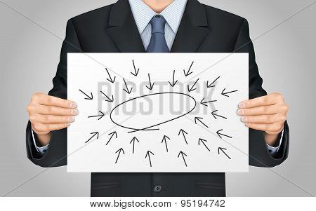 Businessman Holding Empty Diagram Poster