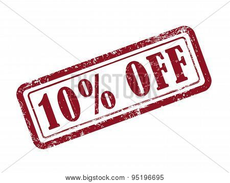 stamp 10 percent off in red over white background poster