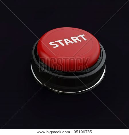 Red Realistic Button Start. Like Startup In Business. Vector