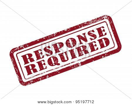 stamp response required in red over white background poster