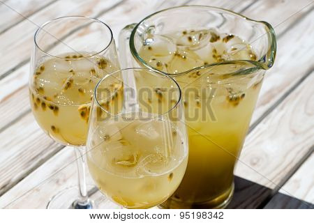Passionfruit Lemonade In Glass Pitcher