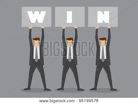 Businessmen Holding Up Win Placard