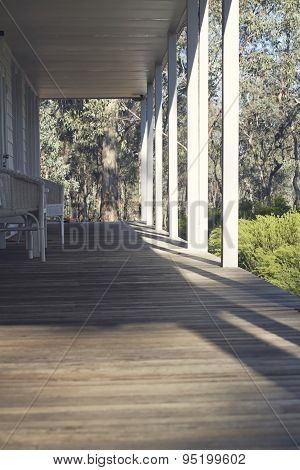 Verandah Of An Australian Country House In The Bush