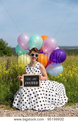 Pinup Girl With Balloons In The Natur, Slate With Text You Are Invited