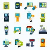 Automated payment machine flat icons set with bank credit card money withdrawal system abstract isolated vector illustration poster