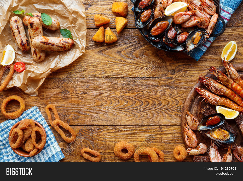 Seafood Platter Meat On Wood Frame Image Amp Photo Bigstock