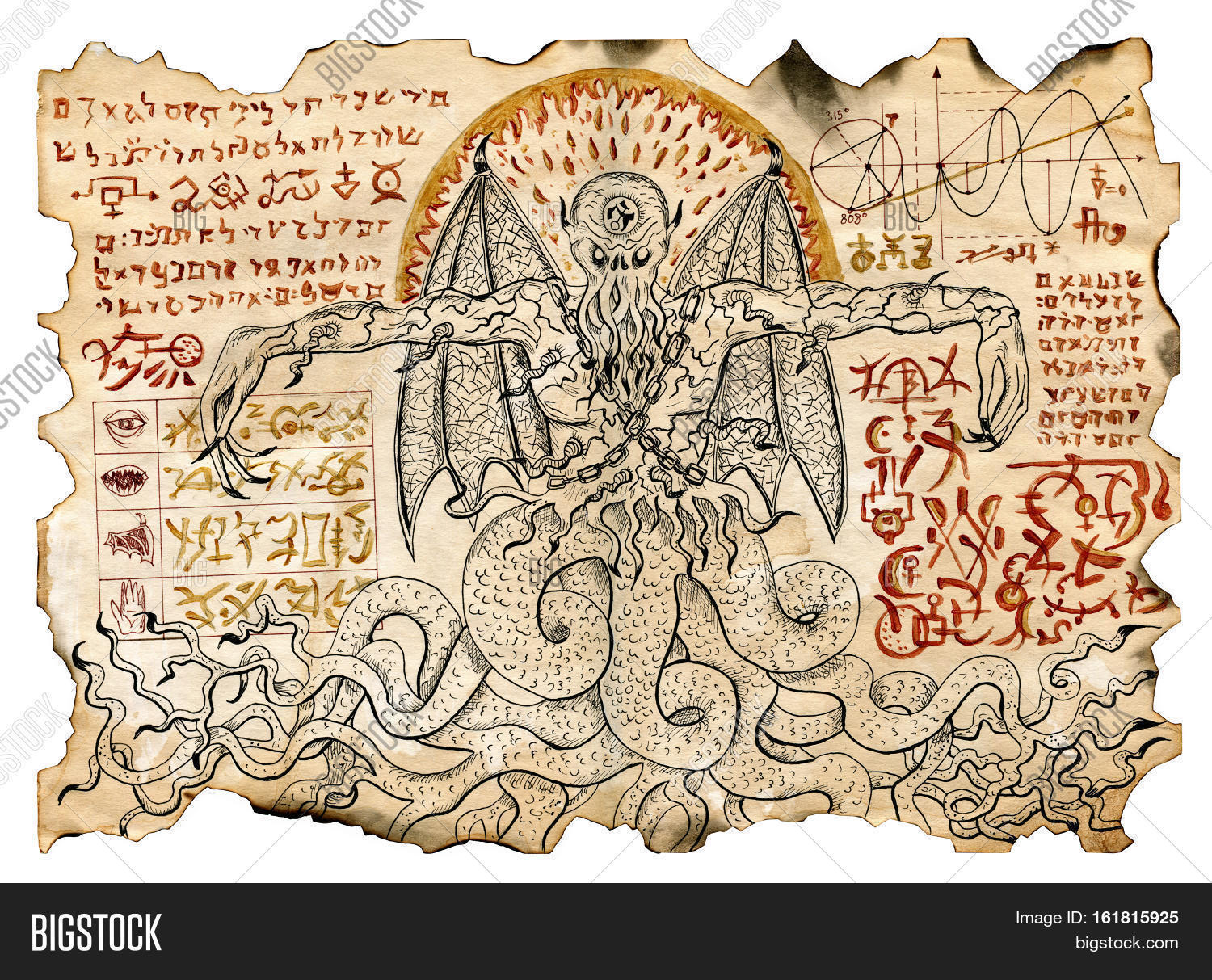 Old parchment mystic drawings evil image photo bigstock old parchment with mystic drawings with evil demon and black magic symbols occult and esoteric biocorpaavc