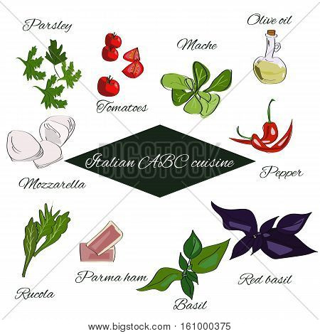 Italian Abc Cuisine. Spices Annd Herbs And Basic Products Of Italian Cuisine.