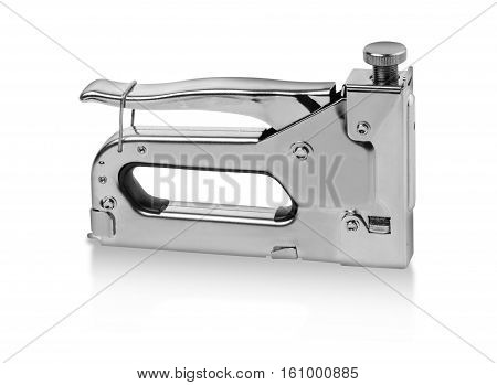 Single gray metal stapler. Isolated on white background. Close-up. Studio photography. with clipping path