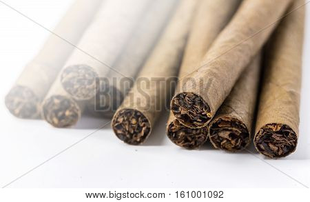 the small cigarillos photographed by a close up