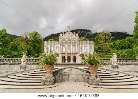ETTAL GERMANY - JUNE 5 2016: Linderhof Palace is a Schloss in Germany in southwest Bavaria near Ettal Abbey. It is the smallest of the three palaces built by King Ludwig II of Bavaria.