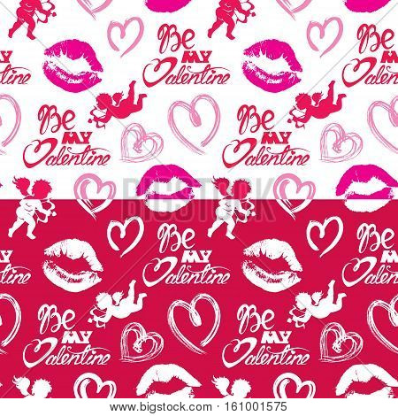 Seamless pattern with brush strokes and scribbles in heart shapes lips prints angels and calligraphic hand written text Be my Valentine. Valentines Day holiday background.