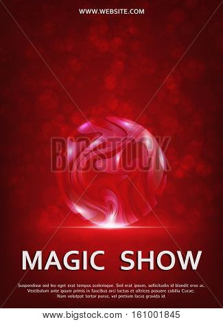 Magic Show poster design template. Magic show flyer design with glass ball.