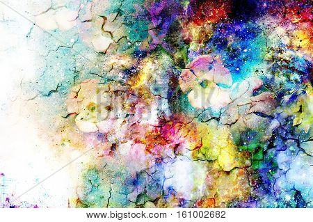 abstract multicolor flower motive collage in space. Crackle effect