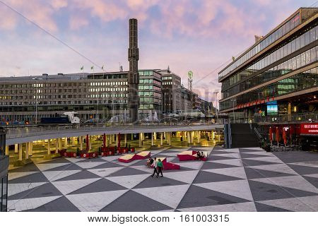 STOCKHOLM, SWEDEN - JULY 7, 2016: This is an evening view of the central area of Norrmalm called Sergels Torg.