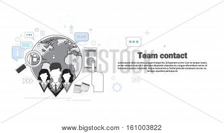 Team Contact Business Information Connection Concept Banner Thin Line Vector Illustration