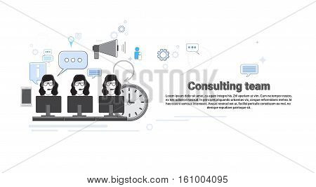 Consulting Team Support Technical Online Chat Web Banner Flat Vector Illustration