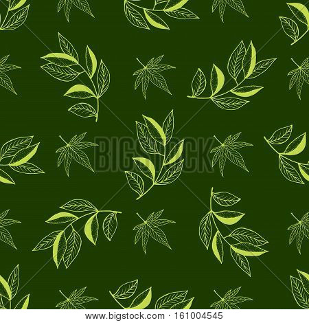 Background of colored leaves. Vector pattern.Leaf Seamless Pattern. Seamless pattern with hand drawn leaves