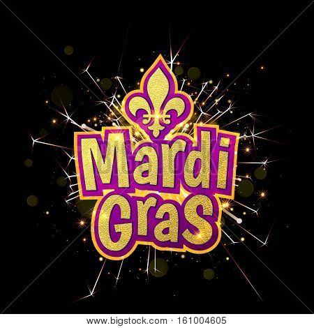 Mardi Gras gold glitter text with firework sparkles. Fleur-de-Lis lily symbol for masquerade carnival. American New Orleans Fat Tuesday celebration poster greeting card. Australian Mardi Gras parade
