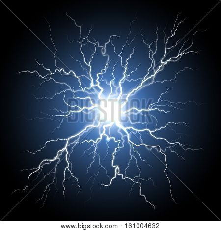 Thunder storm flash light on black background. Vector realistic electricity lightnings. Illustration of nerve connection