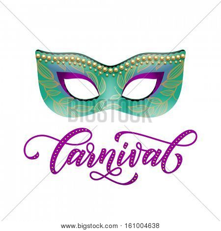 Mask of golden glitter with carnival lettering for Mardi Gras masquerade. Decorative golden beads and green flourish pattern. Venetian festival, Fat Tuesday celebration or Australian Mardi Gras