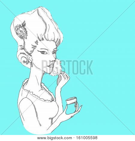 Vector rococo girl making toilet. Girl with make up on blue background.