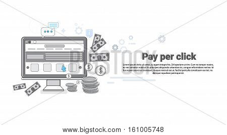 Pay Per Clock Online Payment Web Banner Vector Illustration
