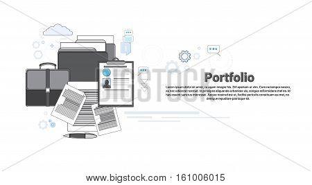 Portfolio Professional Occupation Business Web Banner Vector Illustration