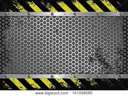 grunge background with danger sign - vector illustration