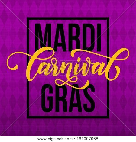 Mardi Gras gold glitter calligraphy on harlequin purple pattern background. Masquerade carnival lettering. Australian Sydney Mardi Gras parade or American New Orleans Louisiana Fat Tuesday poster