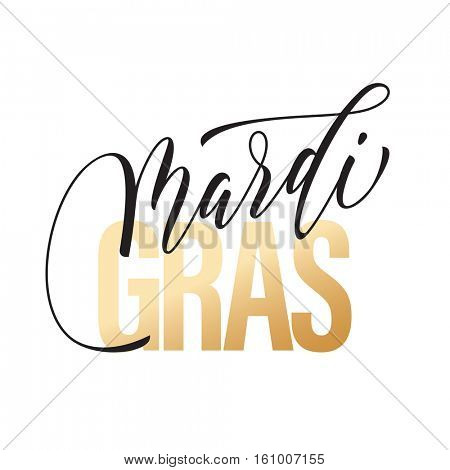 Gold text for Mardi Gras carnival calligraphy lettering. Fat or Shrove Tuesday in New Orleans celebration text. Sydney Mardi Gras or Australian traditional pride parade masquerade or party