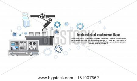 Industrial Automation Industry Production Web Banner Vector Illustration